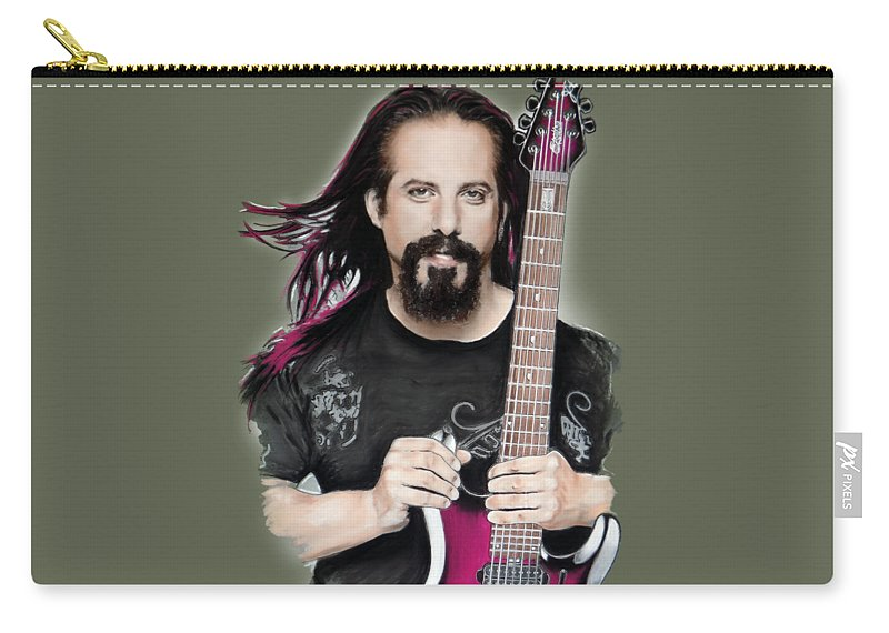 John Petrucci Carry-all Pouch featuring the mixed media John Petrucci by Melanie D