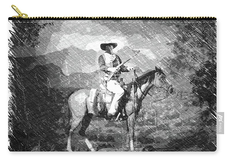 John Wayne Carry-all Pouch featuring the photograph John Wayne At The Ready On Horseback Pa 01 by Thomas Woolworth