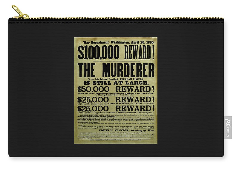 Wanted Carry-all Pouch featuring the mixed media John Wilkes Booth Wanted Poster by War Is Hell Store