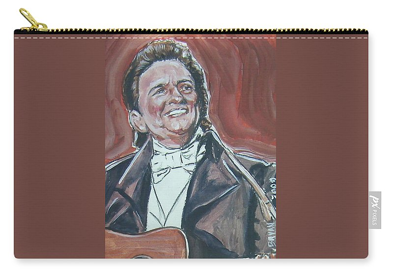 Johnny Cash Carry-all Pouch featuring the painting Johnny Cash by Bryan Bustard