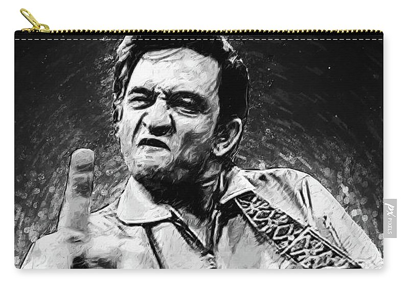 Johnny Cash Carry-all Pouch featuring the digital art Johnny Cash by Zapista