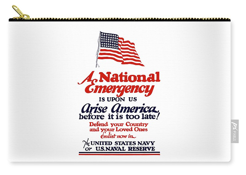 Navy Carry-all Pouch featuring the painting Arise America Before It Is Too Late - Join The Navy by War Is Hell Store