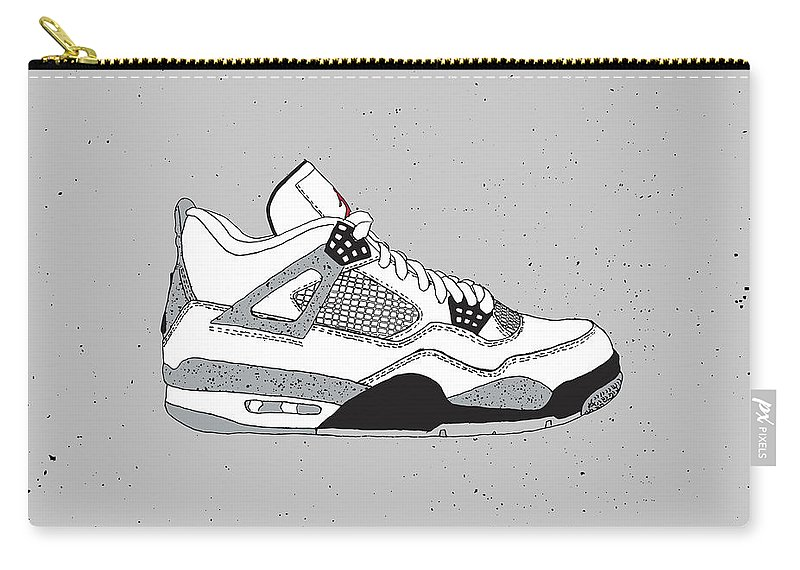 6970be8ea1d Jordan 4 White Cement Carry-all Pouch featuring the digital art Jordan 4  White Cement