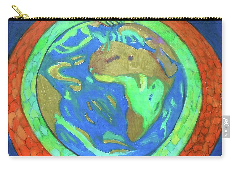Sea Carry-all Pouch featuring the painting Jormungandr by Denise Weaver Ross