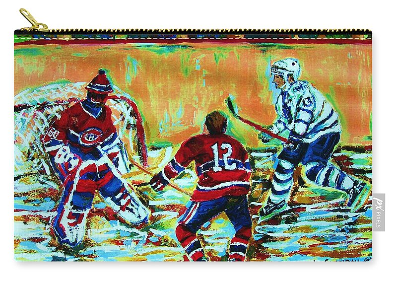 Hockey Canvas Prints Carry-all Pouch featuring the painting Jose Theodore The Goalkeeper by Carole Spandau