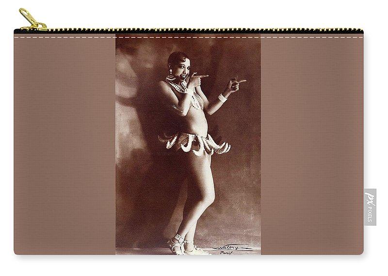 Josephine Baker Lucien Walery Photo Banana Skirt From The Folies Bergere Production Un Vent De Folie Paris 1925 Carry-all Pouch featuring the photograph Josephine Baker Lucien Walery  Banana Skirt From The Folies Bergere Production Un Vent De Folie by David Lee Guss