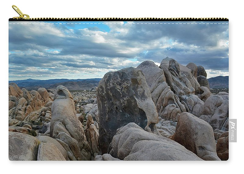 Joshua Tree Carry-all Pouch featuring the photograph Joshua Tree Boulder Sky by Kyle Hanson