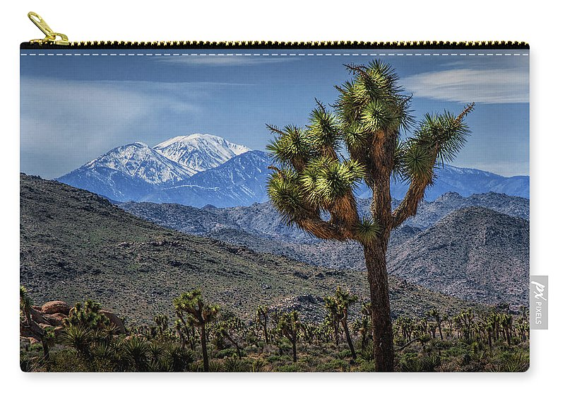 California Carry-all Pouch featuring the photograph Joshua Tree In Joshua Park National Park With The Little San Bernardino Mountains In The Background by Randall Nyhof