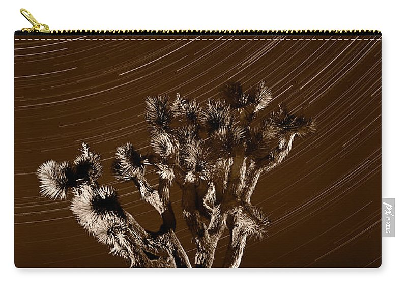 California Carry-all Pouch featuring the photograph Joshua Tree Night Lights Death Valley Bw by Steve Gadomski