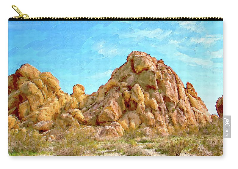 Rocks Carry-all Pouch featuring the painting Joshua Tree Rocks by Dominic Piperata