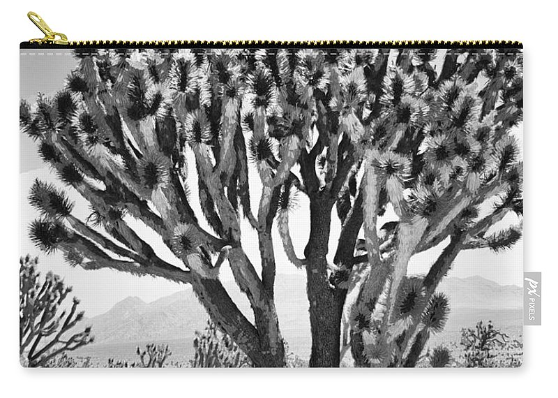Joshua Tree Carry-all Pouch featuring the photograph Joshua Trees Bw by William Dey