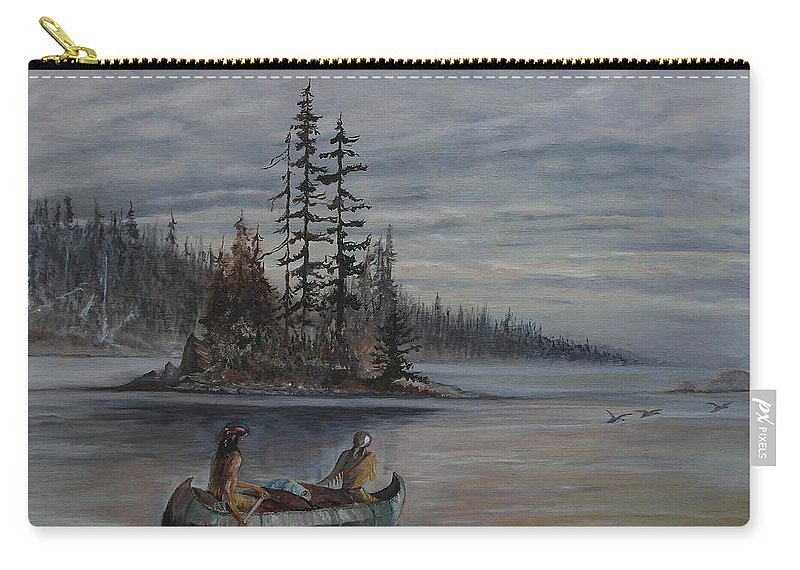 First Nation Carry-all Pouch featuring the painting Journey - Lmj by Ruth Kamenev