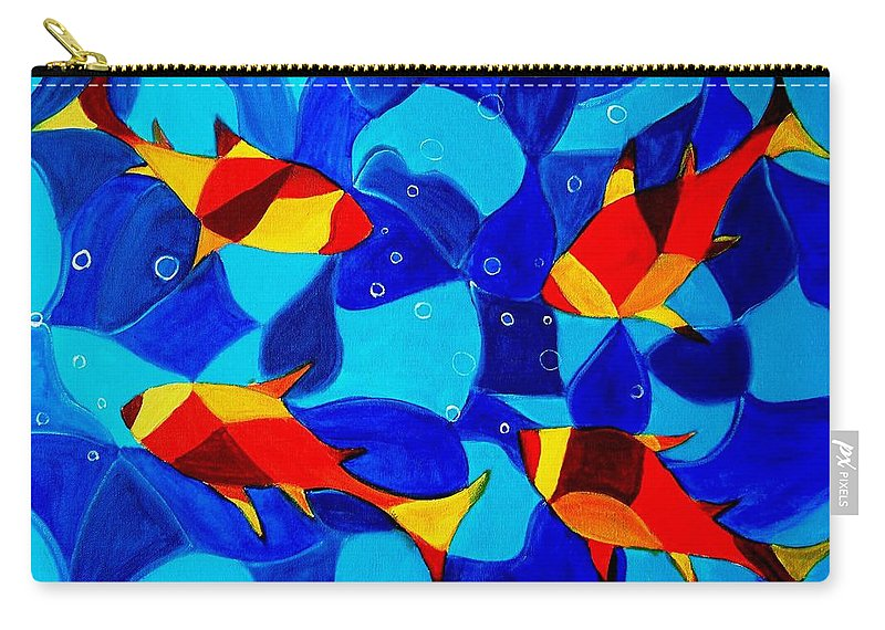 Abstract.acrylic.fish.bubbles.art.painting.modern.contemporary.popblue Red Bubbles Yellow Landscape Carry-all Pouch featuring the painting Joy Fish Abstract by Manjiri Kanvinde