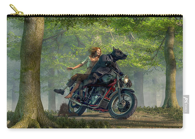 Motorcycle Carry-all Pouch featuring the digital art Joy Ride by Daniel Eskridge