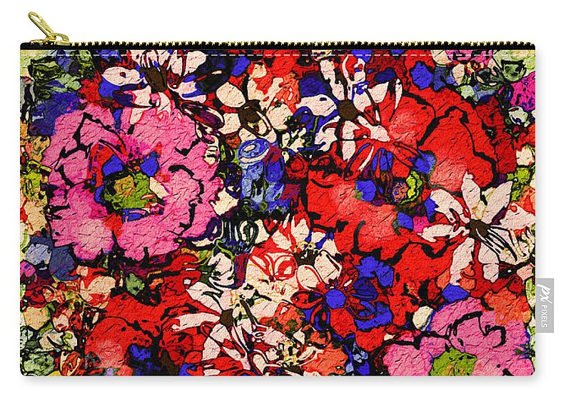 Floral Abstract Carry-all Pouch featuring the painting Joyful Flowers by Natalie Holland