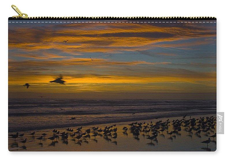 Beach Morning Sunrise Ocean Bird Birds Seagulls Gull Gulls Sand Water Wave Waves Cloud Sky Carry-all Pouch featuring the photograph Joyful Gathering by Andrei Shliakhau