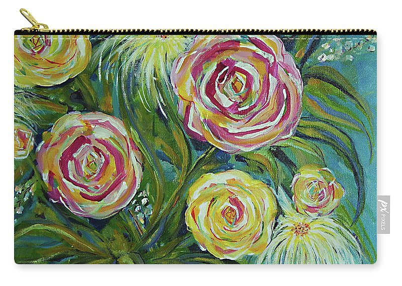 Flowers Carry-all Pouch featuring the painting Joyful by Wendy Provins