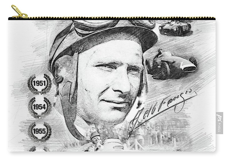 World Champion Carry-all Pouch featuring the drawing Juan Manuel Fangio by Theodor Decker