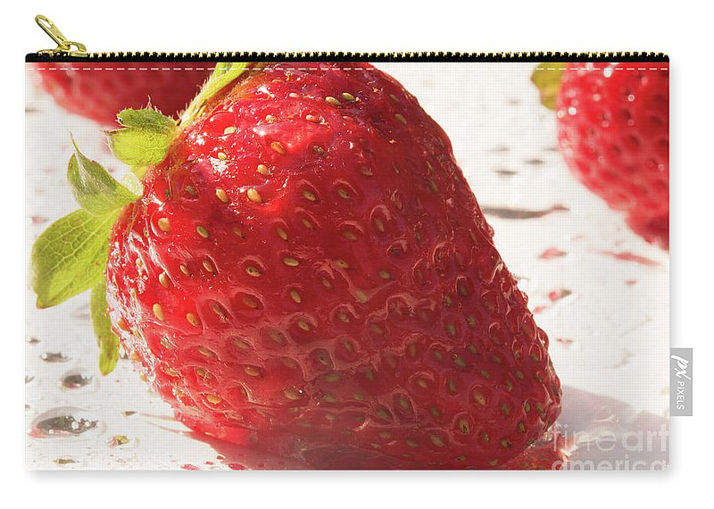 Strawberry Carry-all Pouch featuring the photograph Juicy Strawberries by Michelle Himes