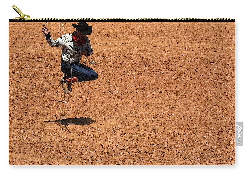 Western Art Carry-all Pouch featuring the photograph Jump Rope Cowboy Style by Kim Henderson