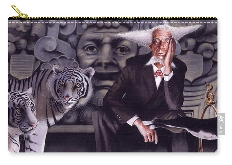 Tigers Carry-all Pouch featuring the painting Jumping The Hoop by Denny Bond