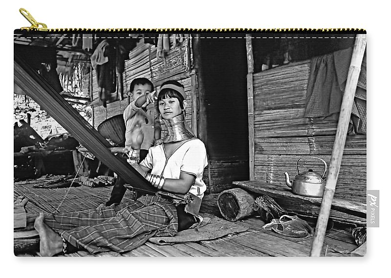 Thailand Carry-all Pouch featuring the photograph Jungle Crafts Bw by Steve Harrington