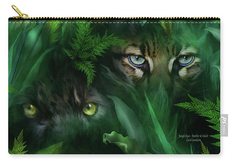Big Cat Art Carry-all Pouch featuring the mixed media Jungle Eyes - Panther And Ocelot by Carol Cavalaris