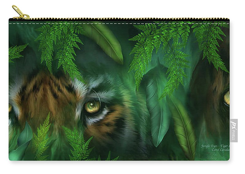Big Cat Art Carry-all Pouch featuring the mixed media Jungle Eyes - Tiger And Panther by Carol Cavalaris