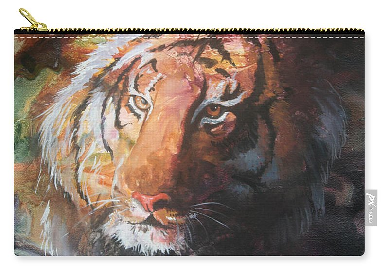 Tiger Carry-all Pouch featuring the painting Jungle Tiger by Sherry Shipley