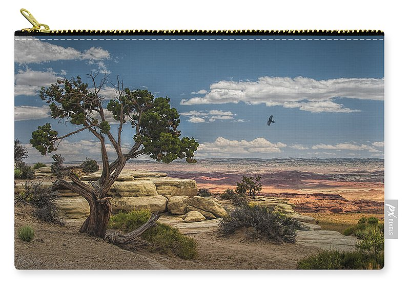 Mesa Carry-all Pouch featuring the photograph Juniper Tree On A Mesa by Randall Nyhof