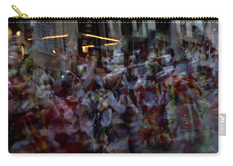 Junkanoo Bermuda Island Atlantic Ocean Dance Music Parade Double Exposure Performance Youth Costume Street Move Movement Celebrate Celebration Party Building Carnival Carry-all Pouch featuring the photograph Junkanoo Double Dance by Heather Kirk