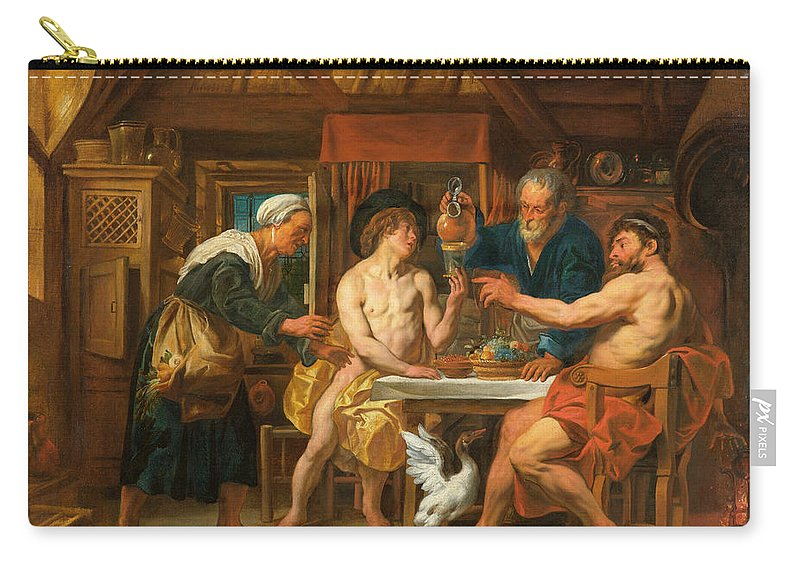 Jupiter And Mercury In The House Of Philemon And Baucis Carry-all Pouch featuring the painting Jupiter And Mercury In The House Of Philemon And Baucis by Jacob Jordaens
