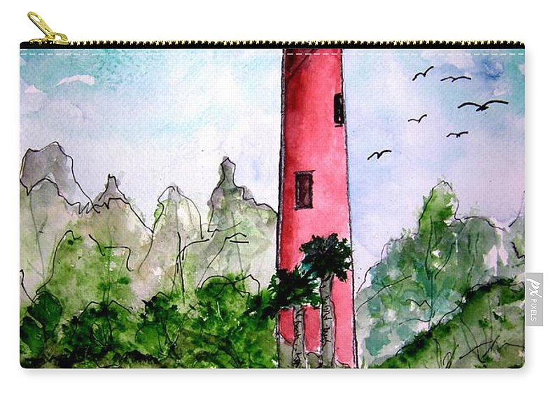 Lighthouse Carry-all Pouch featuring the painting Jupiter Florida Lighthouse by Derek Mccrea