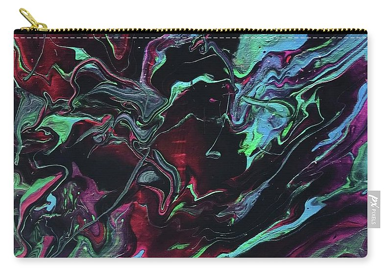Abstract Acrylic Painting Carry-all Pouch featuring the painting Jupiter Journey by Cathie Moravcik