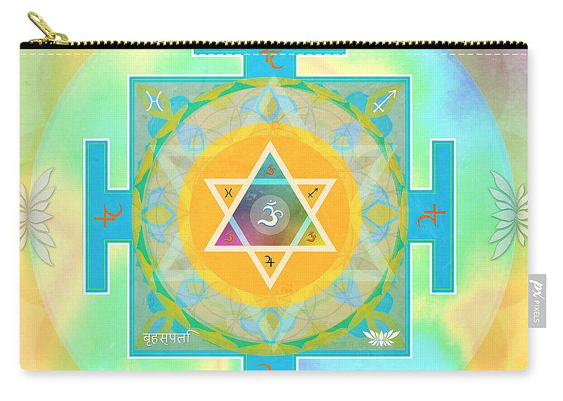 Mandala Art Carry-all Pouch featuring the mixed media Jupiter Yantra by Sandra Petra Pintaric
