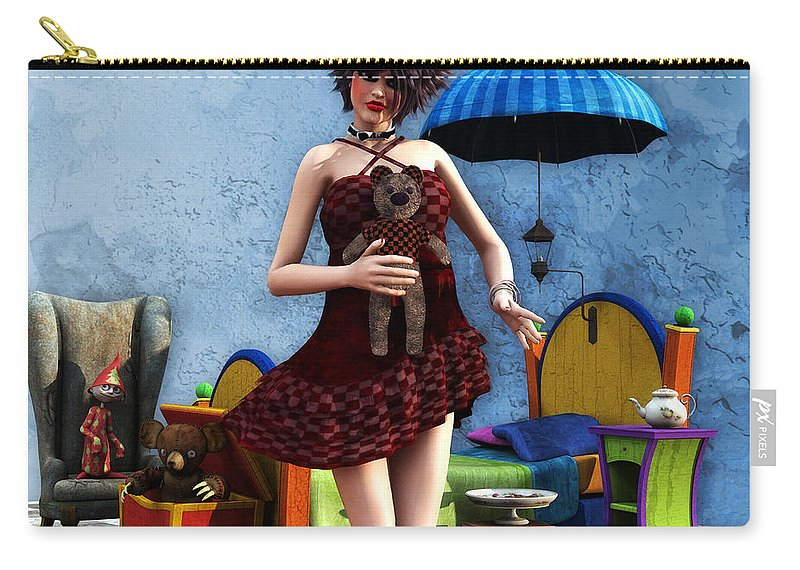 3d Carry-all Pouch featuring the digital art Just A Doll by Jutta Maria Pusl