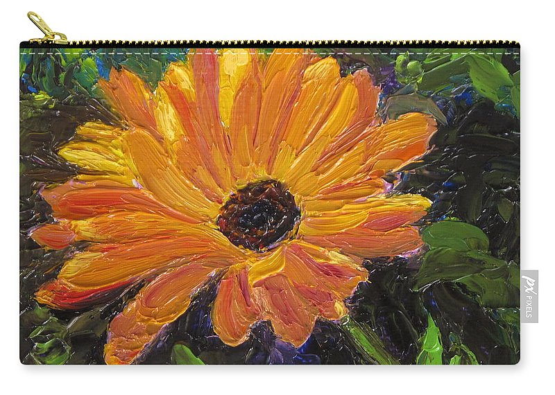 Flower Carry-all Pouch featuring the painting Just a Little Sunlight by Lea Novak