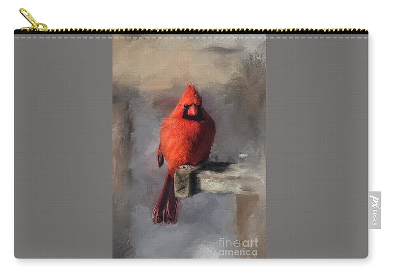Cardinal Carry-all Pouch featuring the digital art Just An Ordinary Day by Lois Bryan