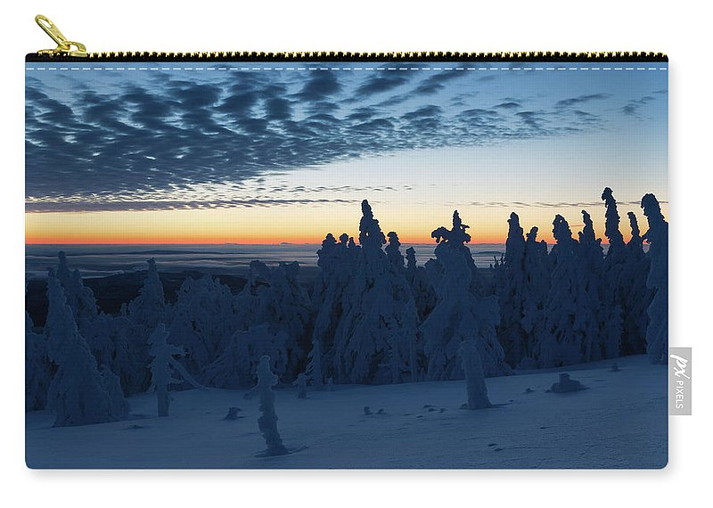 Nature Carry-all Pouch featuring the photograph Just Before Sunrise On The Brocken In The Harz Mountains by Andreas Levi