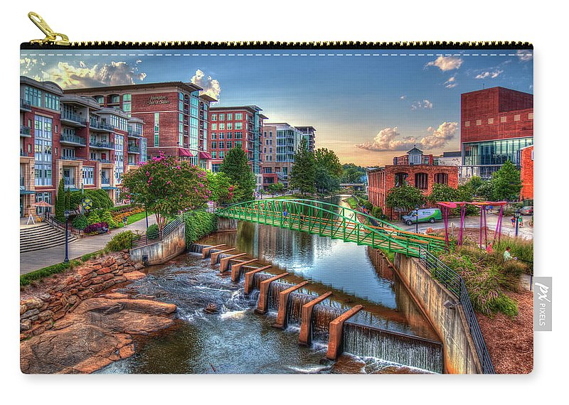 Reid Callaway The Main Attraction Carry-all Pouch featuring the photograph Just Before Sunset 2 Reedy River Falls Park Greenville South Carolina Art by Reid Callaway