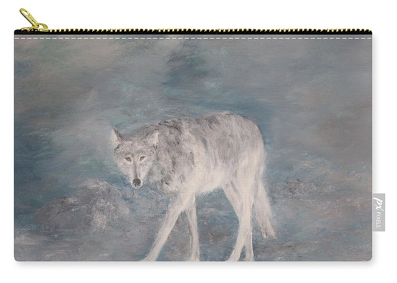 Wolf Carry-all Pouch featuring the painting Just Checking by Sunny Franson