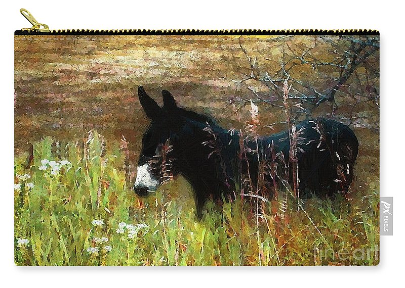 Burro Carry-all Pouch featuring the painting Just Chillin' by RC DeWinter