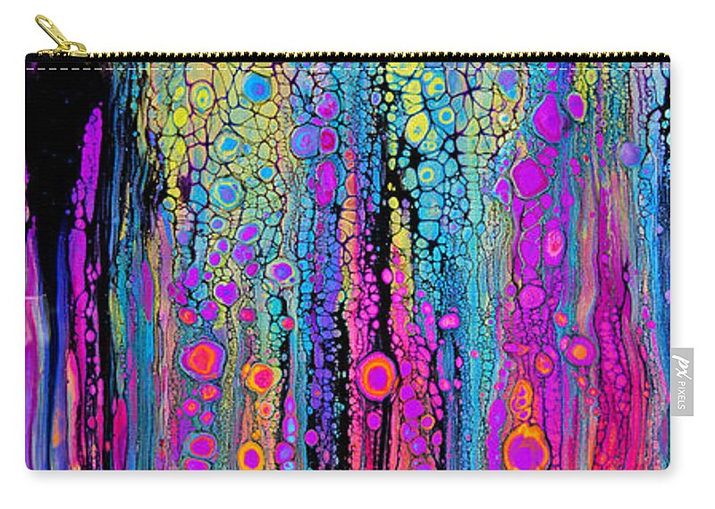 Bright Dramatic Vibrant Colorful Rainbow Dynamic Fun Compelling Lively Charming-pattern Happy-art Carry-all Pouch featuring the painting Just Fun #2651 by Priscilla Batzell Expressionist Art Studio Gallery
