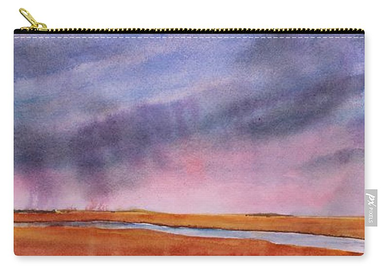 Prairie Carry-all Pouch featuring the painting Just Passing Through by Ruth Kamenev