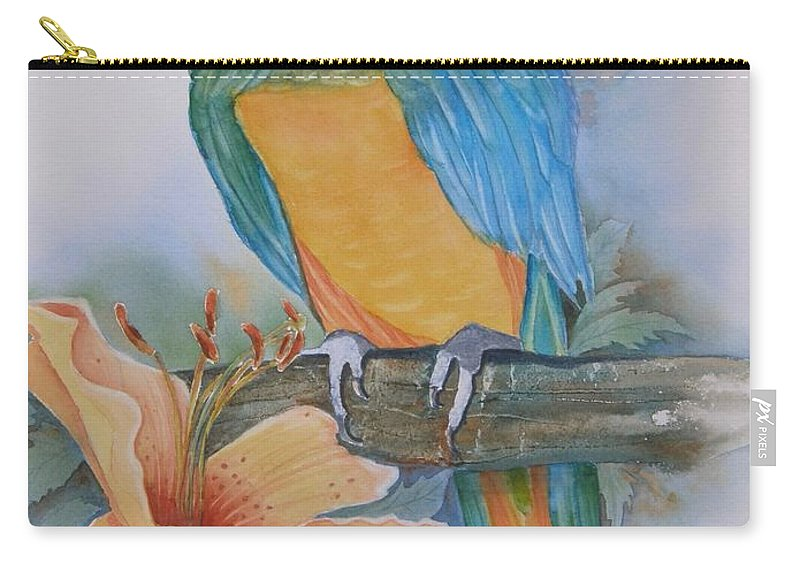 #parrot Carry-all Pouch featuring the painting Just Peachy by Midge Pippel