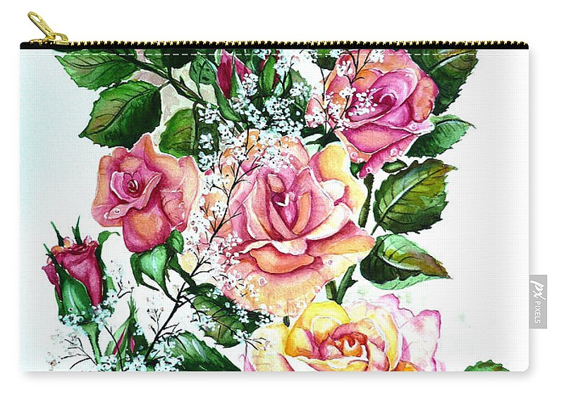 Floral Paintings Pink Paintings  Rose Paintings  Flower Paintings Botanical Paintings Greeting Card Paintings Canvas Prints Paintings Poster Prints Paintings Babies Breath Painting  Carry-all Pouch featuring the painting Just Roses by Karin Dawn Kelshall- Best