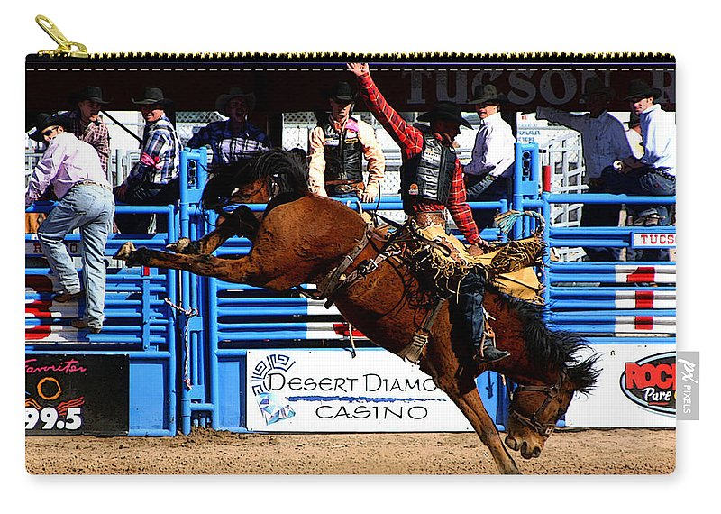 Rodeo. Rodeos Carry-all Pouch featuring the photograph Just Two More Seconds To Go by Joe Kozlowski
