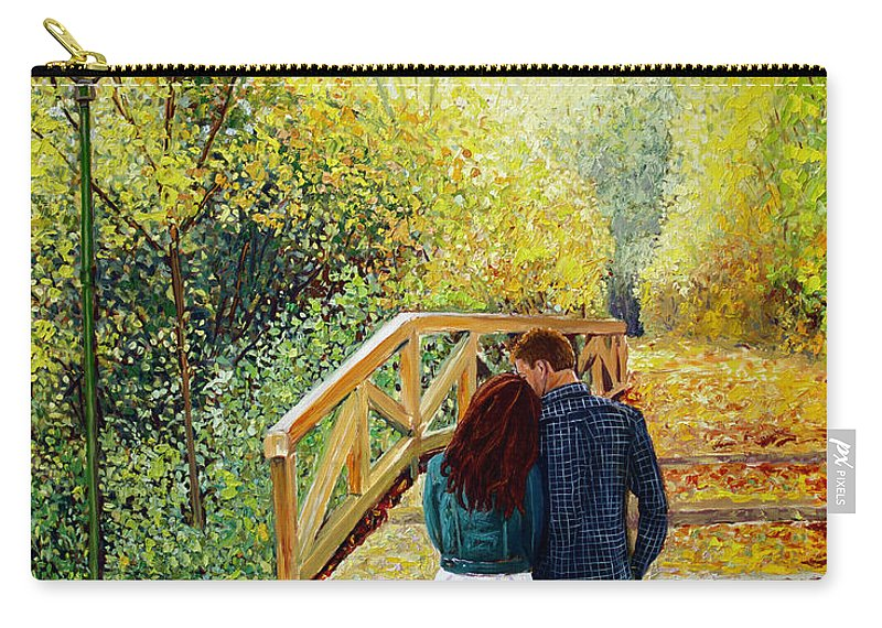 Walking Carry-all Pouch featuring the painting Just Walking by Manuel Lopez