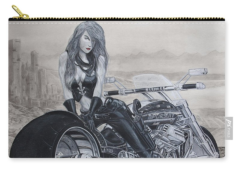#bike Carry-all Pouch featuring the drawing Justice by Kristopher VonKaufman