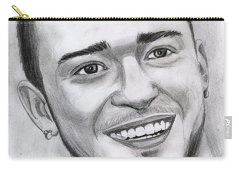 Justing Timberlake Carry-all Pouch featuring the drawing Justing Timberlake Portrait by Alban Dizdari